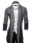 cheap Men's Sweaters & Cardigans-Men's Daily Striped Long Sleeve Long Cardigan Wine / Dark Gray / Light gray L / XL / XXL