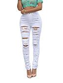 abordables Pantalones para Mujer-Mujer Chic de Calle Tiro Alto Ajustado / Vaqueros Pantalones - Un Color / Otoño / Invierno / Cortado