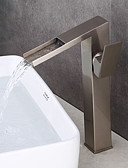 cheap Women's Swimwear & Bikinis-Bathroom Sink Faucet - Pre Rinse / Waterfall / Widespread Nickel Brushed Centerset Single Handle Two Holes
