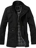 olcso Férfi dzsekik és kabátok-Nagy méretek Vintage Egyszerű Őszi Téli-Férfi Ballonkabát,Egyszínű Állógallér Hosszú ujj Fekete Barna Poliészter Közepes vastagságú