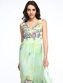 baratos Vestidos Femininos-Mulheres Tamanhos Grandes Boho Chifon Vestido - Pregueado / Estampado, Floral Decote em V Profundo Longo
