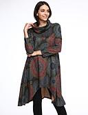 voordelige Maxi-jurken-Dames Katoen Ruimvallend Jurk - Bloemen Asymmetrisch