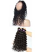 billige T-skjorter og singleter til herrer-4 pakker Mongolsk hår 360 Frontal / Dyp Bølge Ubehandlet hår Hår Veft Med Lukker Hårvever med menneskehår 8a Hairextensions med menneskehår
