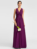 cheap Evening Dresses-A-Line V Neck Floor Length Chiffon Bridesmaid Dress with Side Draping / Ruched by LAN TING BRIDE®