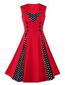 abordables Vestidos de Talla Grande-Mujer Tallas Grandes Vintage Algodón Línea A Vestido A Lunares Tiro Alto Hasta la Rodilla Escote Cuadrado Rojo