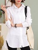 رخيصةأون قمصان نسائية-نسائي قطن قميص قبعة القميص لون سادة, عمل / الربيع / الخريف