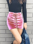 tanie Damska spódnica-Damskie Moda miejska Linia A / Bodycon Spódnice - Wyjściowe Jendolity kolor / Wiosna / Lato / Mini / Sznurowany