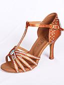 povoljno Haljine za djevojčice-Žene Plesne cipele Saten Cipele za latino plesove / Standardni / Cipele za salsu Štras Sandale Deblja visoka potpetica Nemoguće personalizirati Smeđa / EU39