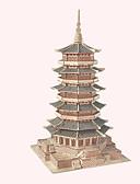 ieftine Maieu & Tricouri Bărbați-Puzzle Lemn Turn Clădire celebru Arhitectura Chineză Casă nivel profesional De lemn 1pcs Pentru copii Băieți Cadou