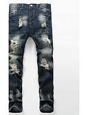 abordables Pantalones y Shorts de Hombre-Hombre Algodón Delgado Corte Recto / Vaqueros Pantalones - Un Color / Fin de semana
