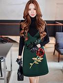 baratos Saias-Mulheres Vintage Sofisticado Moda de Rua Evasê Reto Bainha Vestido - Paetês Franzido, Estampa Colorida Retalhos Bordado Decote V Acima do