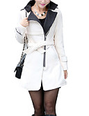 cheap Women's Leather & Faux Leather Jackets-Women's Daily / Work Spring / Fall Regular Trench Coat, Solid Colored Stand Long Sleeve Wool Red / Yellow / Khaki L / XL / XXL