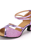 cheap Evening Dresses-Women's Latin Shoes Paillette / Leatherette Sandal Chunky Heel Non Customizable Dance Shoes Gold / Silver / Purple / Indoor