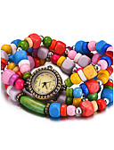 abordables Relojes Brazalete-REBIRTH Mujer Reloj Pulsera / Reloj de Pulsera Resistente al Agua Madera Banda Vintage / Casual / Moda Negro / Blanco / Rojo