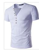 preiswerte Herren T-Shirts & Tank Tops-Herrn Solide Sport Baumwolle T-shirt, V-Ausschnitt