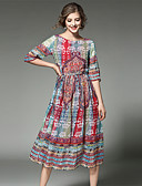cheap Women's Dresses-Women's Vintage / Street chic / Sophisticated Chiffon Dress - Patchwork