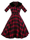 cheap Women's Dresses-Women's Vintage Cotton Sheath Dress - Plaid High Rise Shirt Collar / Spring / Summer