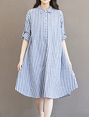 cheap Women's Dresses-Women's Plus Size Going out Cotton Loose Dress - Striped Asymmetrical Shirt Collar / Fine Stripe