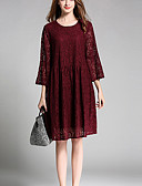 cheap Print Dresses-Women's Lace Holiday / Going out / Plus Size Simple / Vintage Flare Sleeve Loose / Lace Dress - Jacquard Lace / Cut Out Spring Cotton Brown Wine