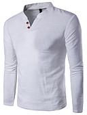 baratos Jaquetas & Casacos para Homens-Homens Tamanhos Grandes Camiseta - Esportes Trabalho Activo Sólido Algodão Linho Decote V