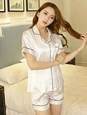 abordables Lencería de Mujer-Mujer Pijamas,Un Color Medio Algodón Blanco Negro