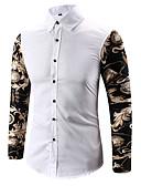 cheap Men's Swimwear-Men's Work Cotton Shirt - Solid Colored / Color Block / Long Sleeve