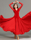 cheap Ballroom Dance Wear-Ballroom Dance Women's Performance Tulle / Velvet Draping / Splicing Long Sleeve Natural Dress