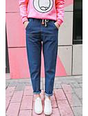 billige Tights til damer-Dame Grunnleggende Store størrelser Denimstoff Løstsittende Bukser Ensfarget / Oversized