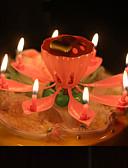 baratos Vestidos para as Mães dos Noivos-musical lótus flores velas feliz aniversario vela para festa presente luzes decoração