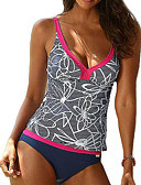 cheap Women's Swimwear & Bikinis-Women's Plus Size Strap Tankini - Floral Print Briefs