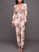 voordelige Dames jumpsuits & rompers-Dames Dagelijks / Club Street chic Jumpsuit Pailletten / Print Diepe V-hals / Lente / Herfst