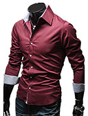 abordables Camisas de Hombre-Hombre Algodón Camisa Delgado Un Color