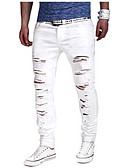 cheap Men's Pants & Shorts-Cotton Slim Jeans / Chinos Pants - Solid Colored Ripped White / Weekend