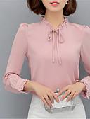 abordables Camisas y Camisetas para Mujer-Mujer Chic de Calle Noche / Trabajo Blusa, Escote Chino Un Color / Primavera / Con Lazo