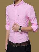 abordables Camisas de Hombre-Hombre Camisa, Cuello Americano Un Color Algodón