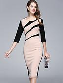 baratos Vestidos Femininos-Mulheres Para Noite / Trabalho Trabalho / Moda de Rua Algodão Delgado Evasê Vestido Retalhos Altura dos Joelhos