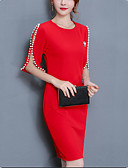 cheap Women's Dresses-Women's Plus Size Going out Cotton Sheath Dress - Solid Colored Red, Beaded / Slim