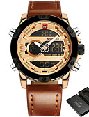 cheap Dress Watches-NAVIFORCE Men's Sport Watch Military Watch Wrist Watch 30 m Water Resistant / Water Proof Alarm Calendar / date / day Genuine Leather Band Analog-Digital Fashion Black / Brown - Coffee Black / Gold