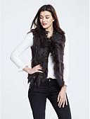 baratos Trench Coats e Casacos Femininos-Mulheres Casaco de Pêlo Simples - Sólido