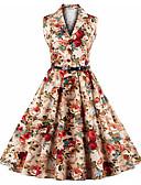 baratos Vestidos de Mulher-Mulheres Tamanhos Grandes Vintage Algodão Bainha Vestido Sólido / Floral Decote V Cintura Alta Altura dos Joelhos