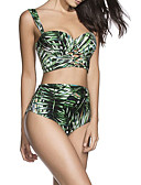 cheap Women's Swimwear & Bikinis-Women's High Waist Strap Green High Waist Bikini Swimwear - Plants Tropical Leaf Print M L XL
