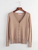 preiswerte Damen Pullover-Damen Übergrössen Street Schick Baumwolle Langarm Lang Strickjacke - Solide V-Ausschnitt