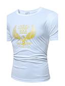 baratos Camisetas & Regatas Masculinas-Homens Camiseta Temática Asiática Sólido Algodão Decote Redondo