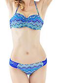 זול 2017ביקיני ובגדי ים-גיאומטרי, בגדי ים ביקיני פול כחול ים קולר גאומטרי בוהו Bandeau בגדי ריקוד נשים