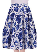 cheap Women's Skirts-Women's Going out Cotton Swing Skirts - Floral / Floral Patterns