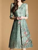 baratos Vestidos Femininos-Mulheres Casual Calças - Floral Verde / Decote V / Para Noite