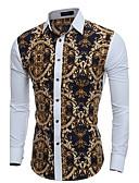billige T-skjorter og singleter til herrer-Bomull Skjorte Herre Trykt mønster Vintage / Fritid Arbeid Kamel L / Langermet