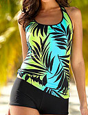 cheap Women's Swimwear & Bikinis-Women's Strap Underwire Tankini Tropical Leaf, Print Boy Leg
