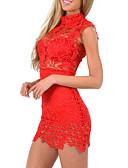 baratos Mini Vestidos-Mulheres Bandagem Bainha Rendas Vestido Sólido Colarinho Chinês Cintura Baixa Mini Vermelho