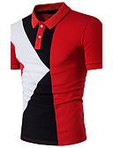 baratos Pólos Masculinas-Homens Polo Activo Patchwork, Estampa Colorida Algodão Colarinho de Camisa Delgado / Manga Curta